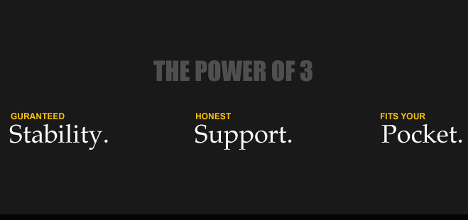 The POWER OF 3 Guaranteed Stabality. Honest Support. Fits your Pocket